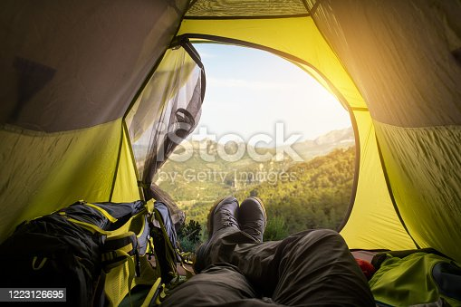 497486952 istock photo View from tent. Sport and active life concept. 1223126695