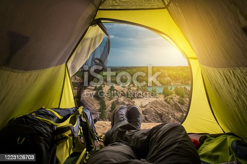 497486952 istock photo View from tent. Sport and active life concept. 1223126703