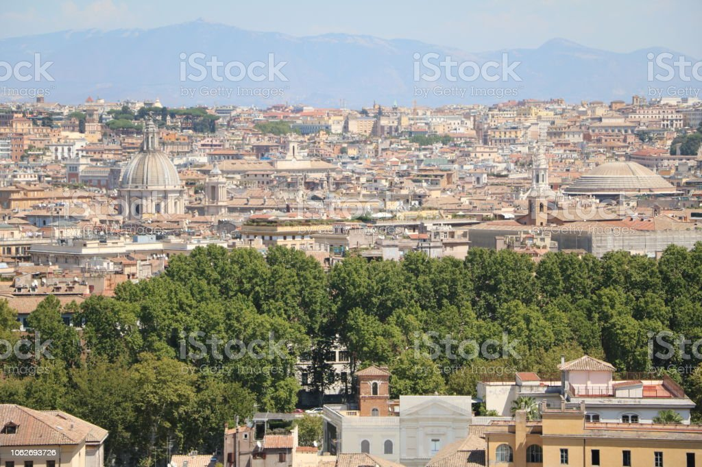 View From Terrazza Del Gianicolo To Pantheon And The