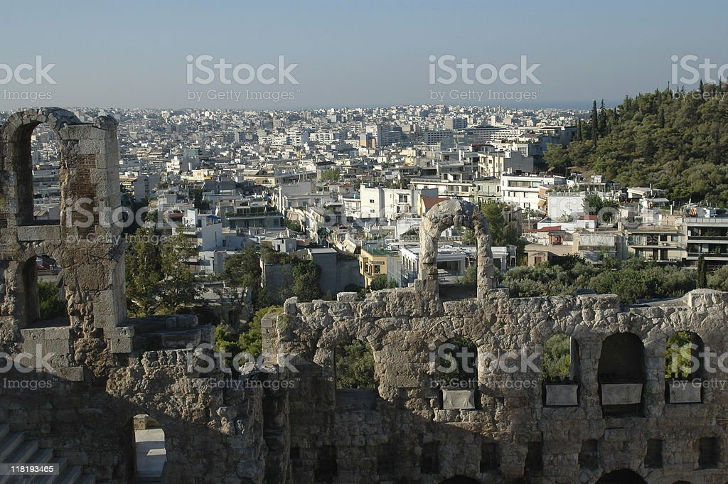 View from the Acropolice on Athens royalty-free stock photo