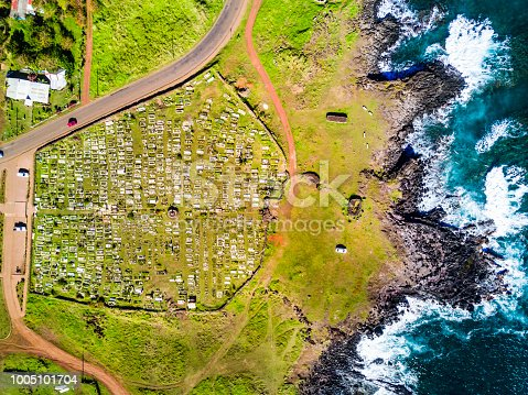Easter Island a mystic place in the middle of the Pacific Ocean, maybe the most remote area in the world if we take onto consideration the distance to the mainland, Moais standing facing the elements and remembering and old amazing culture