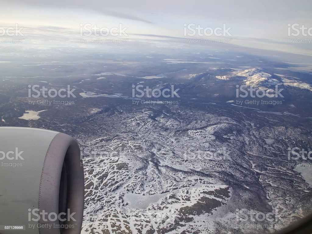 View from the airplane on the Kola Peninsula stock photo