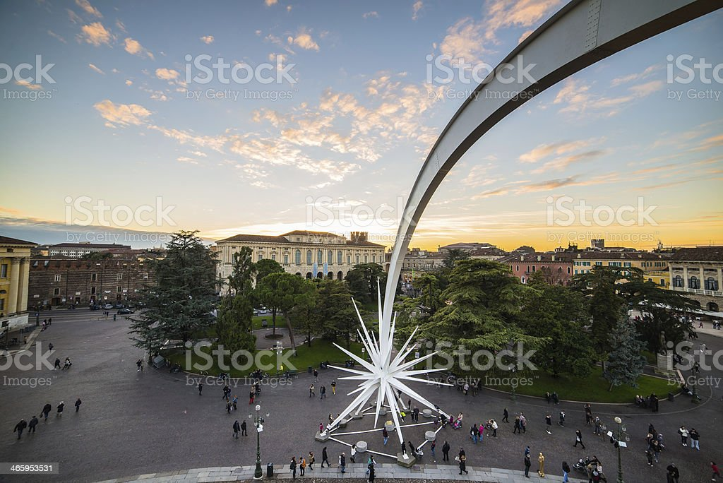 Vista dall'arena di Verona Piazza Bra - foto stock