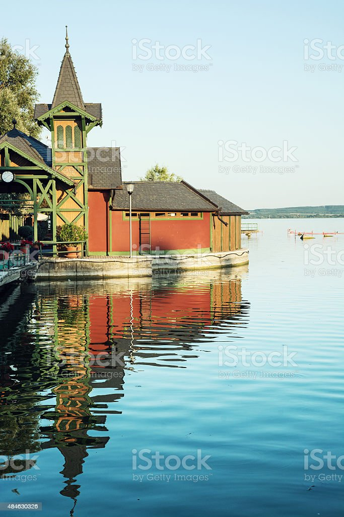 View from the beach pier of Keszthely stock photo