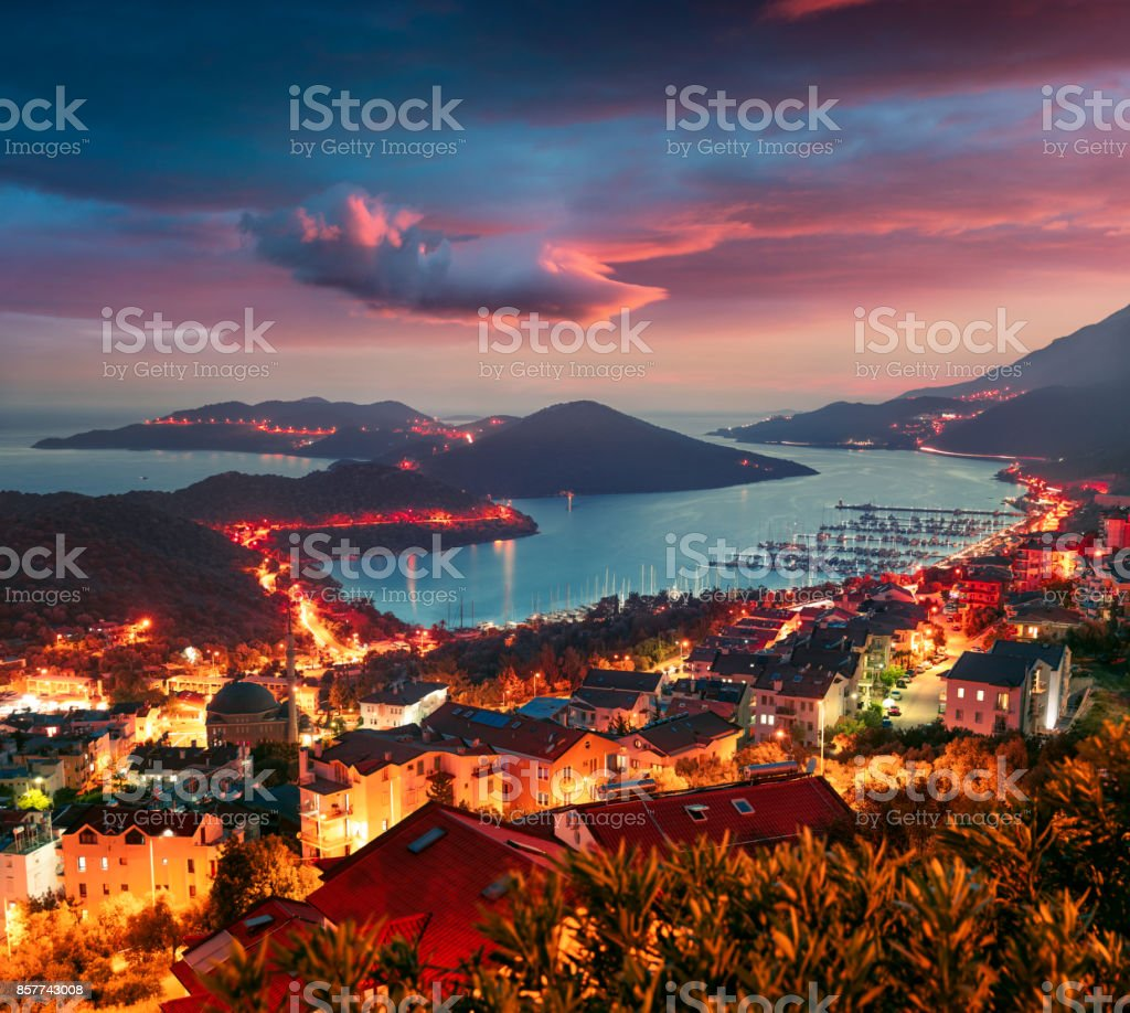 View from the bird's eye of the Kas city, district of Antalya Province of Turkey stock photo