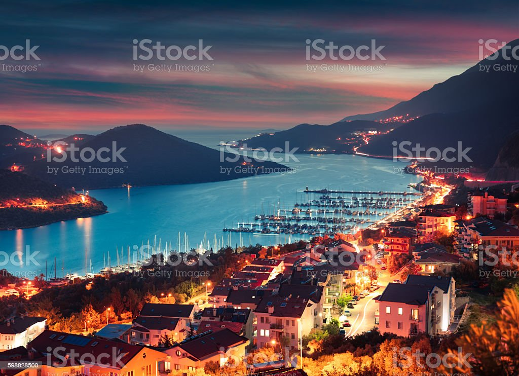 View from the bird's eye of the Kas city stock photo