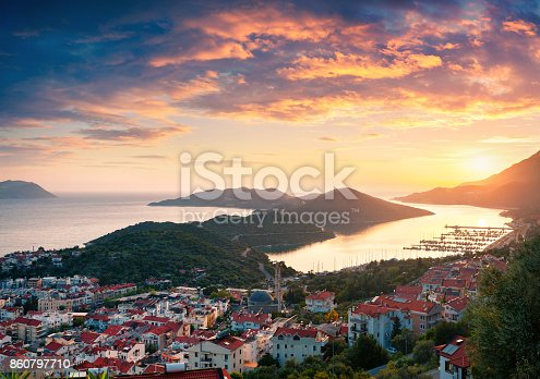 istock View from the bird's eye of the Kas city 860797710