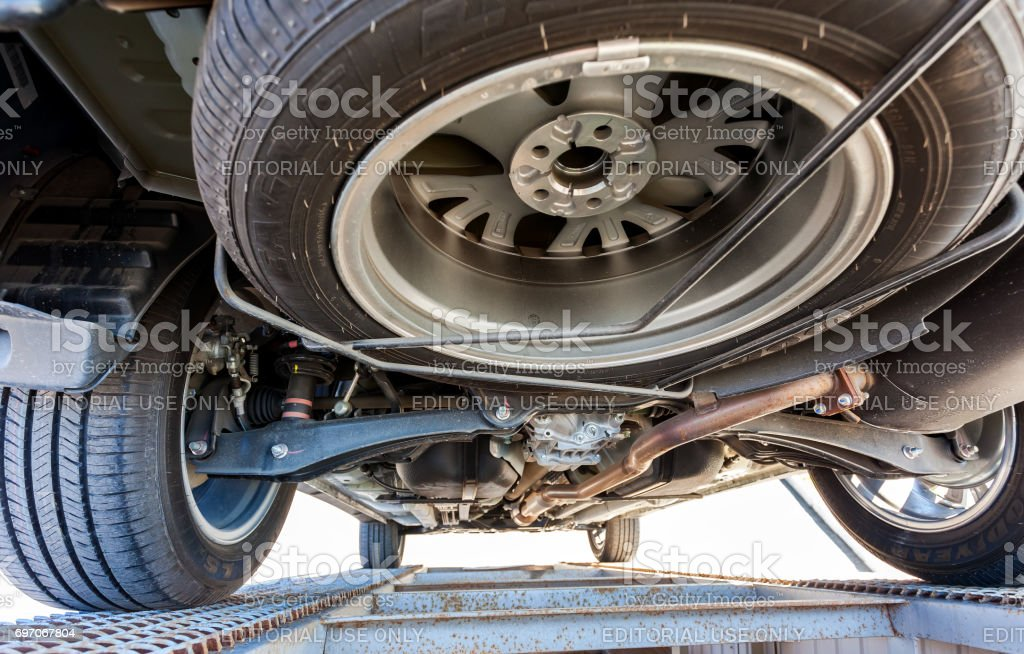 View from the bottom of the car Mitsubishi Outlander stock photo