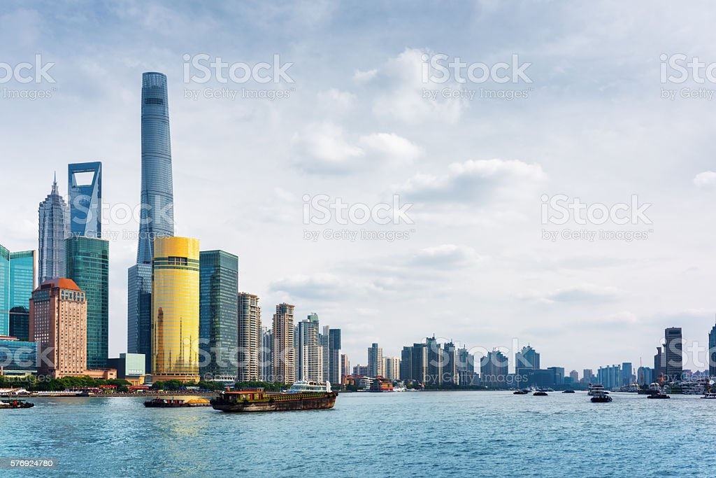View from the Bund across Huangpu River in Shanghai, China stock photo