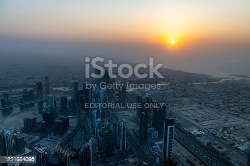 View from Burj Khalifa, the world tallest building, at sunset