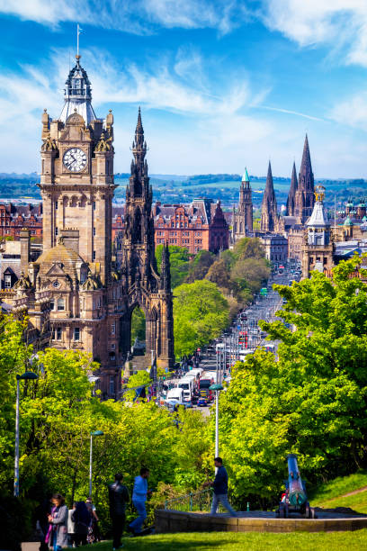 View from the Calton Hill on Princes Street in Edinburgh, Scotland, UK View from the Calton Hill on Princes Street in Edinburgh, Scotland, UK princes street edinburgh stock pictures, royalty-free photos & images