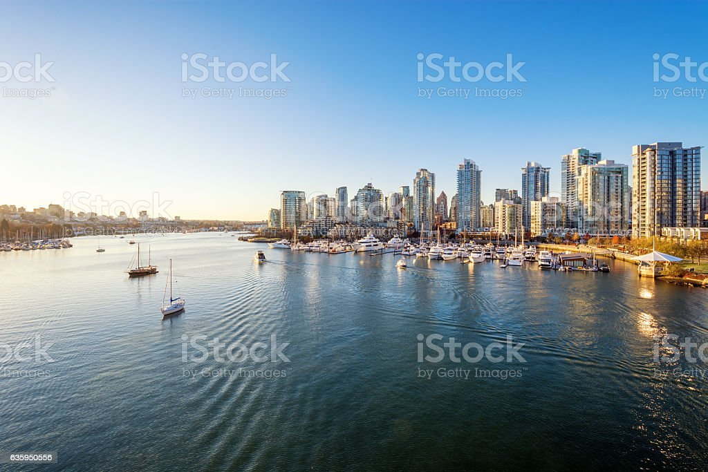 View from the Cambie Bridge. Downtown skyline in Vancouver, Canada. stock photo