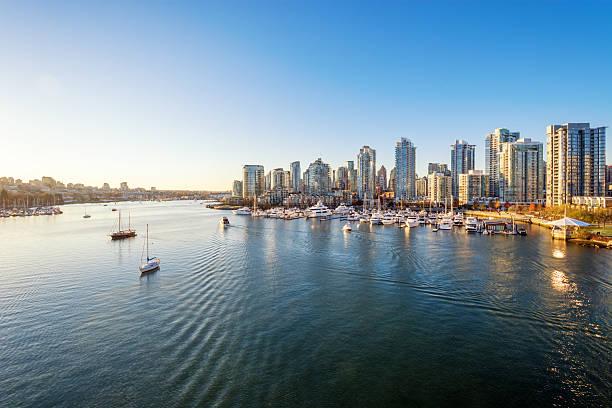 view from the cambie bridge. downtown skyline in vancouver, canada. - vancouver canada stockfoto's en -beelden