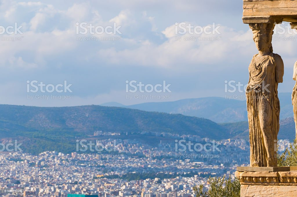 View from the Caryatids, Parthenon, Athens, Greece-copy space stock photo
