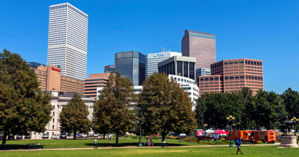 View from the city park on downtown Denver. stock photo