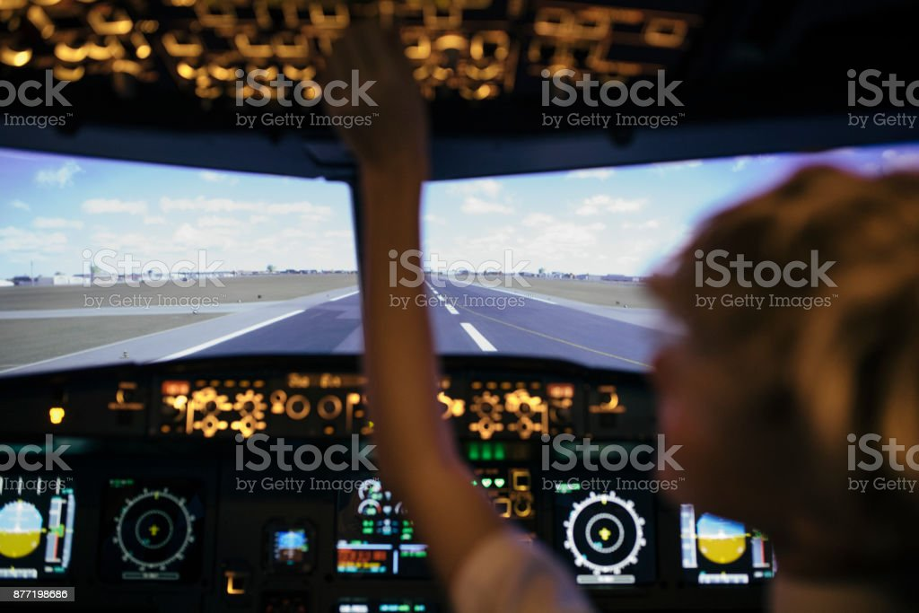 View From The Cockpit In Flight Simulator stock photo