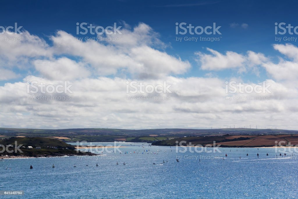View from the costal path near Polzeath stock photo