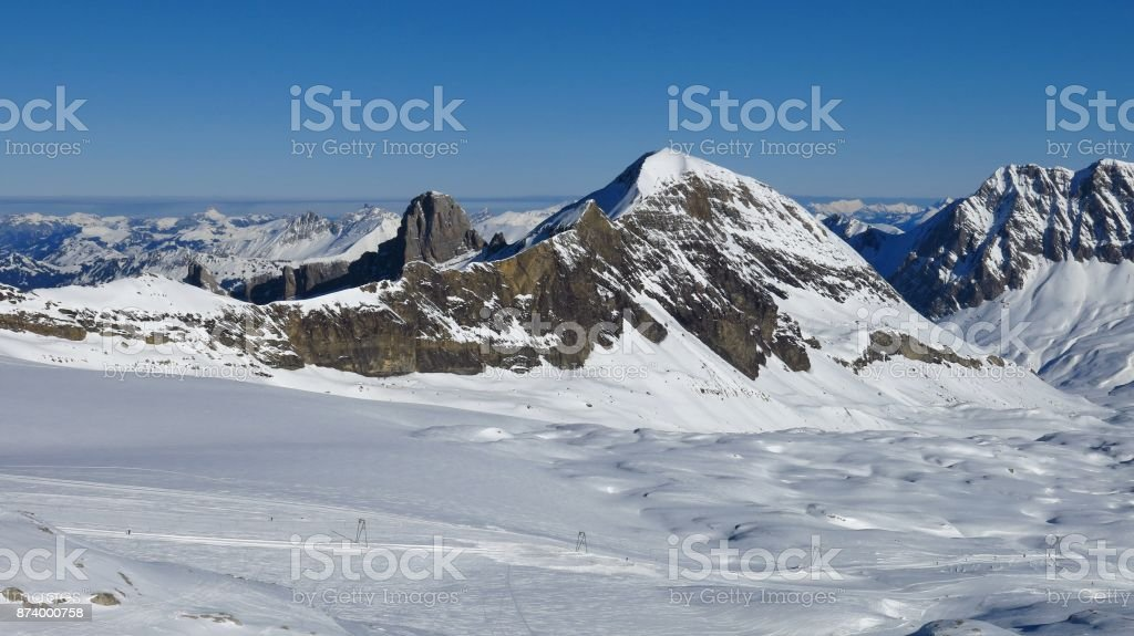View from the Diablerets glacier ski area. stock photo