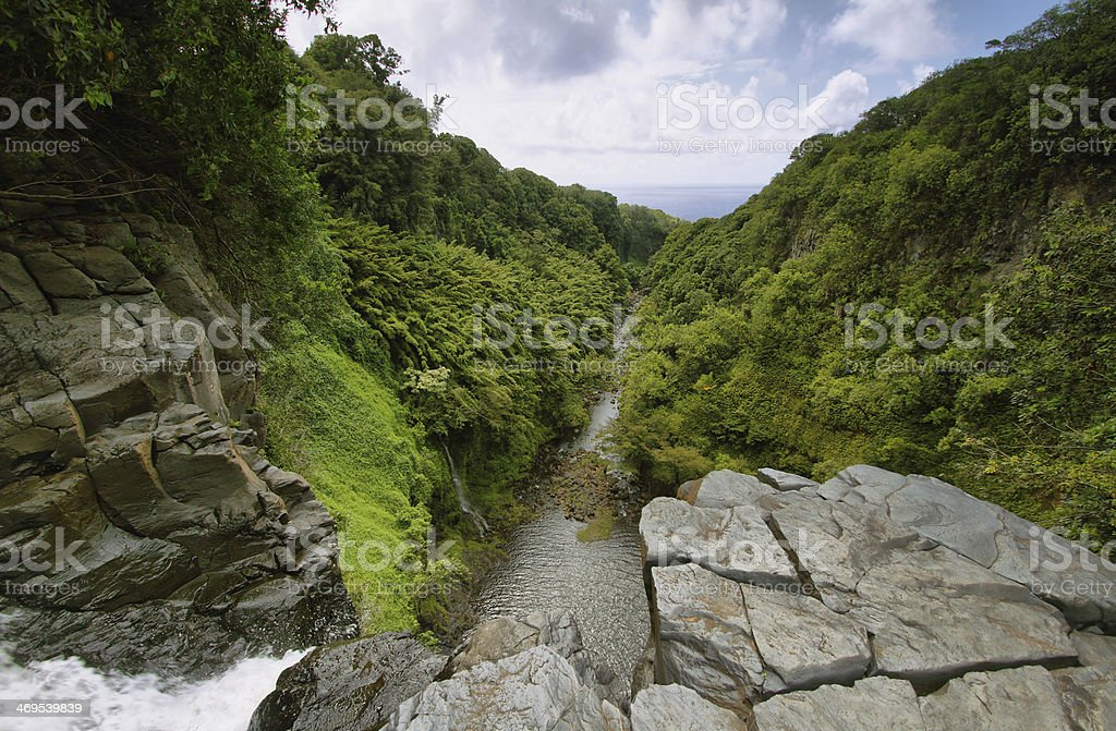 View from the edge of Makahiku falls stock photo