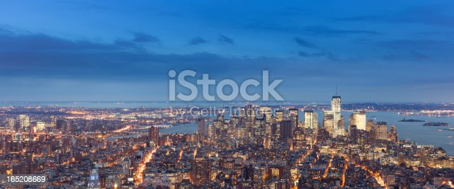 istock View from the Empire State Building at twilight, panoramic 165208669