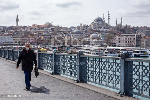 istock View from the empty Galata Bridge, famous for anglers. 1215364018