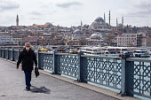 View from the empty Galata Bridge, famous for anglers. Istanbul Metropolitan Municipality banned fishing within its borders within the scope of corona virus measures.