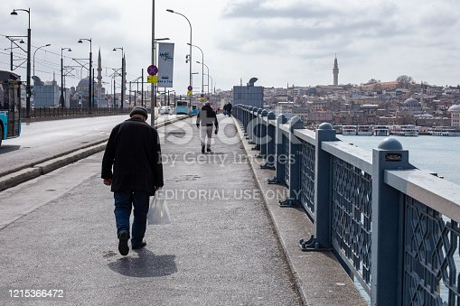 istock View from the empty Galata Bridge, famous for anglers. 1215366472