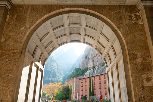 View From The Entrance Of Montserrat Monastery Stock Photo - Download Image Now