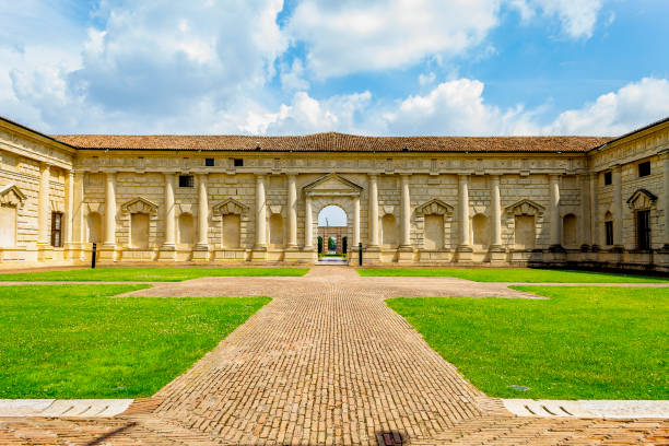 View from the entrance of Palazzo Te in Mantua (Lombardy, Italy). stock photo