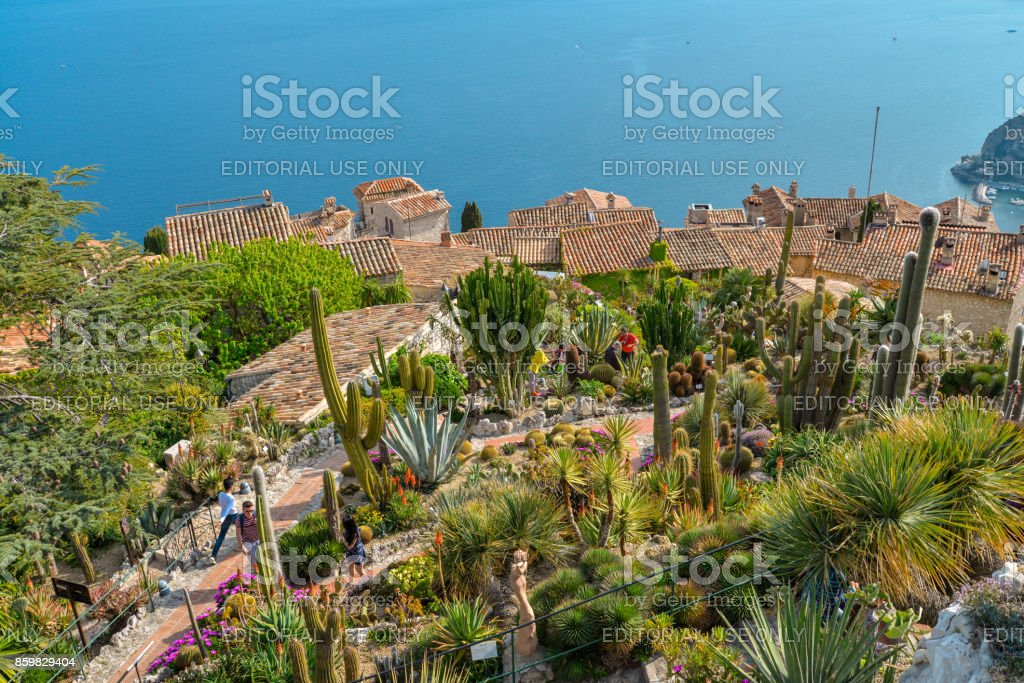 view from the exotique garden in Eze stock photo