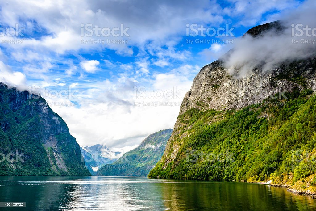 View from the ferry on the narrowest fjord in Norway stock photo