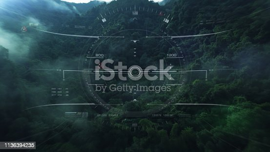 1136394286 istock photo View from the fighter plane cockpit head up display 1136394235