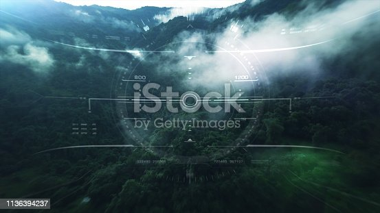 1136394286 istock photo View from the fighter plane cockpit head up display 1136394237
