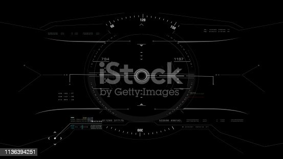 1136394286 istock photo View from the fighter plane cockpit head up display 1136394251