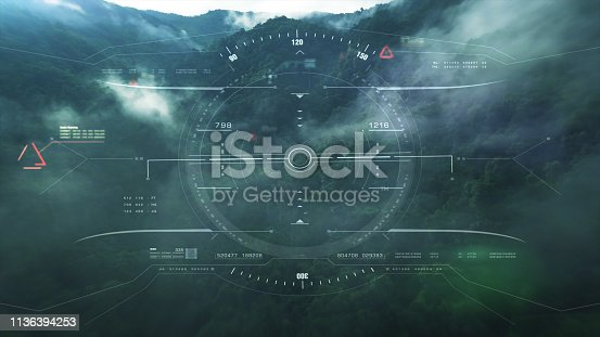 1136394286 istock photo View from the fighter plane cockpit head up display 1136394253