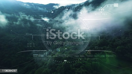 1136394286 istock photo View from the fighter plane cockpit head up display 1136394257