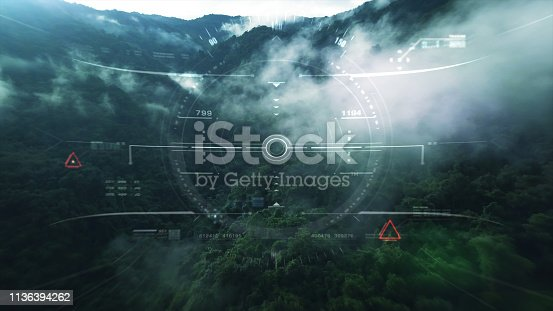 1136394286 istock photo View from the fighter plane cockpit head up display 1136394262