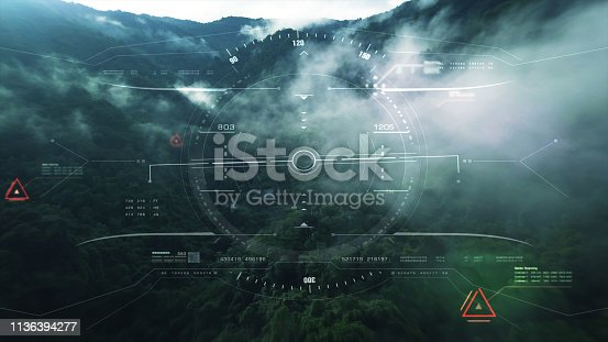 1136394286 istock photo View from the fighter plane cockpit head up display 1136394277