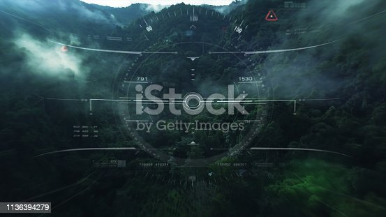 1136394286 istock photo View from the fighter plane cockpit head up display 1136394279