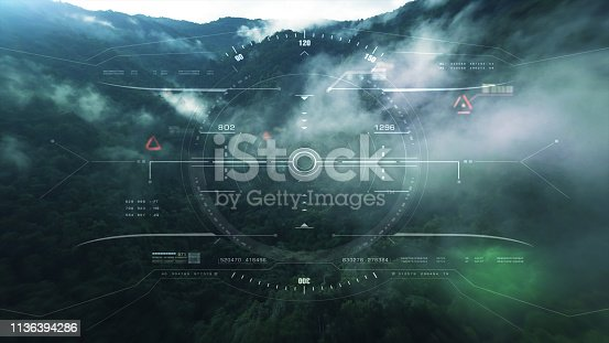 1136394286 istock photo View from the fighter plane cockpit head up display 1136394286