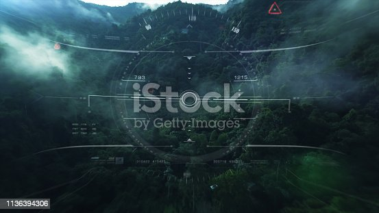 1136394286 istock photo View from the fighter plane cockpit head up display 1136394306