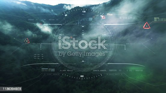 1136394286 istock photo View from the fighter plane cockpit head up display 1136394923