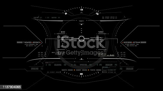 1136394286 istock photo View from the fighter plane cockpit head up display 1137904065