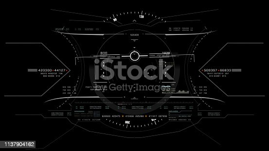 1136394286 istock photo View from the fighter plane cockpit head up display 1137904162