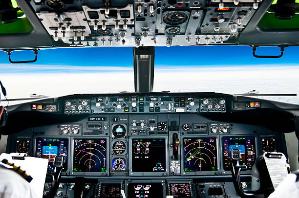 view from the flight deck of modern airliner plane - cockpit stock photos and pictures