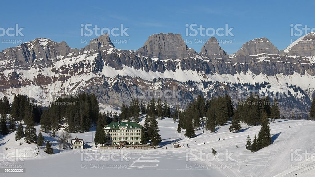 View from the Flumserberg ski area, Switzerland stock photo
