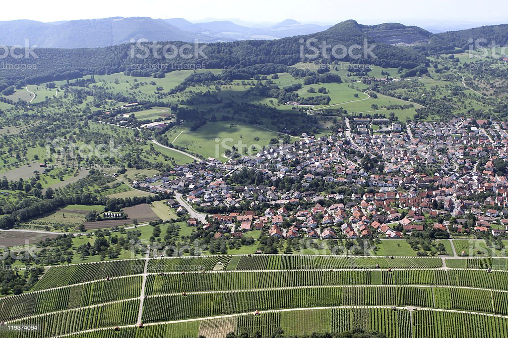 View from the Fortress 'Hoher Neuffen' royalty-free stock photo