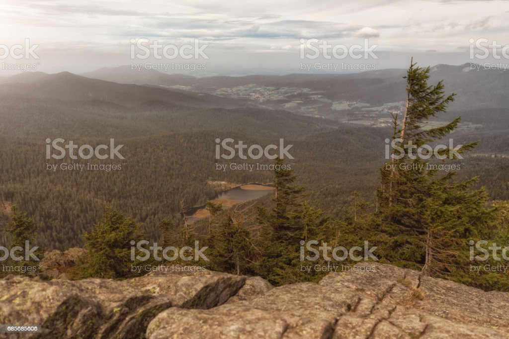View from the great arber mountain in Bavaria stock photo