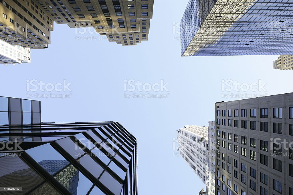 A view from the ground up of skyscrapers in New York City royalty-free stock photo