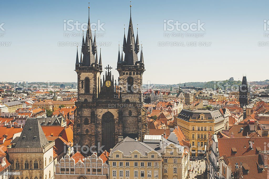 View from the hall tower in Prague stock photo
